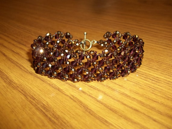Burgundy Bronze Boucle Bracelet Crystal Beaded Weave- Swarovski Crystals, Czech Fire Polished Beads and Seed Beads - Free Shipping