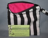 Small zippered referee striped bag w/pink lining - holds mouthguard/whistle/cash/phone/change
