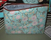 Medium Cherry Blossom  Lined Padded Zippered Clutch Makeup Bag
