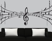 Modern vinyl wall decal 3d music notes decal black silhouette decals music wall mural - 0274