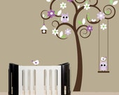 Childrens wall decal swirl tree wall stickers purple accent colors owl swing decal - 0268