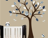 Childrens wall decal nursery wall tree decal with owl and bird decals - 0140