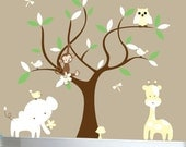 Childrens nursery wall decal tree decal jungle animals yellow - 0390