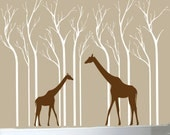 Giraffe and birch trees wall decals customize your own colors
