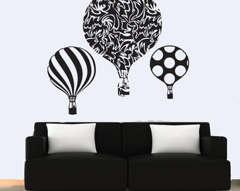 Silhouette balloons wall decal set of three