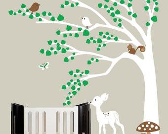 Modern nursery wall decals green leaf tree decal white deer wall sticker - 0328