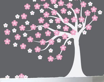 Childrens wall decal blowing cherry tree decal white tree wall sticker white cherry tree decal - 0378