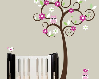 Swirl Tree wall decal  - nursery tree wall decal with owls and birds - 0374