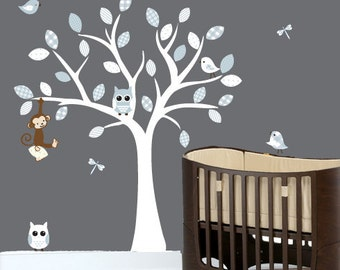 Childrens wall decals nursery white tree wall decal baby blue owl vinyl wall decal - 0048