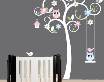 Nursery wall decals - white swirl tree decal - blue and pink flower stickers animal wall decals - 0358
