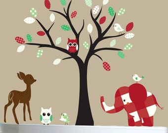 Jungle wall decal - nursery tree wall decal - red -  green - patterned vinyl wall art - 0368