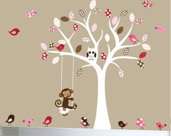 Childrens wall decal white tree decal with birds, monkey and swing - 0184