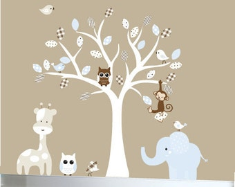 Jungle wall decal nursery white tree wall decal blue brown and tan colors - 0340