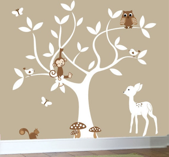 nursery jungle owl decal set white tree wall decal white