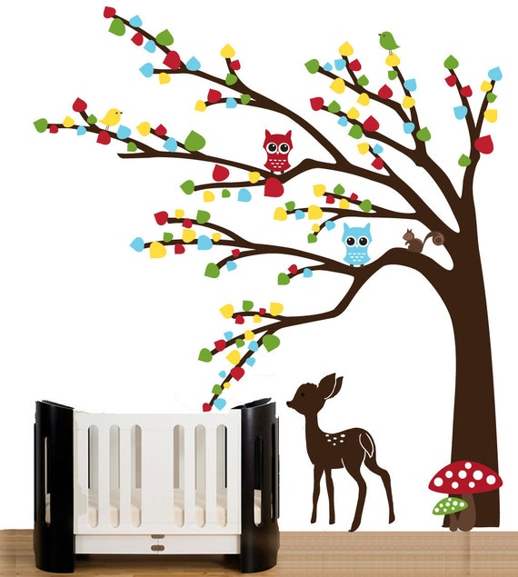 Wall decals forest wall decal with baby deer by couturedecals for Deer wall mural