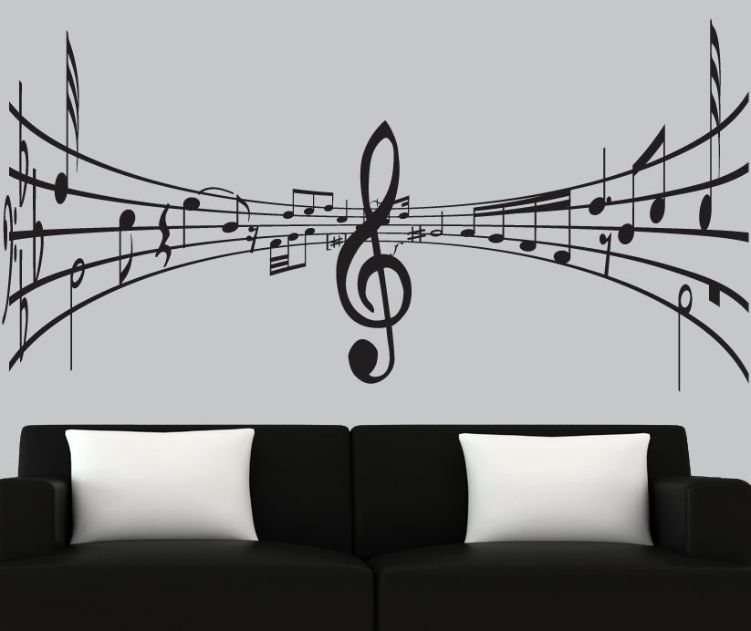 modern vinyl wall decal 3d music notes decal by couturedecals music wall murals examples