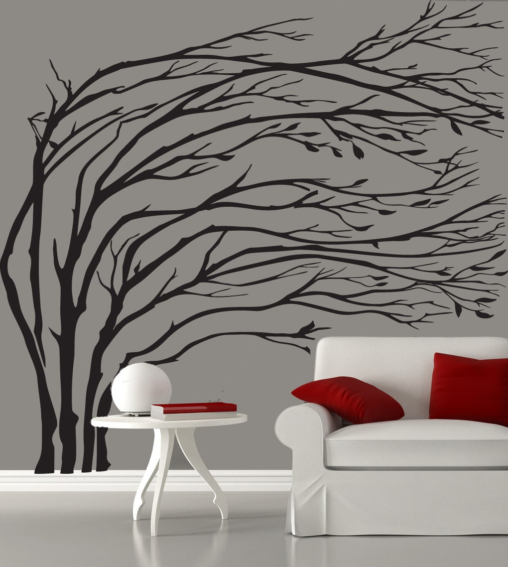modern black blowing tree wall decal silhouette by tree silhouette wall sticker wall stickers
