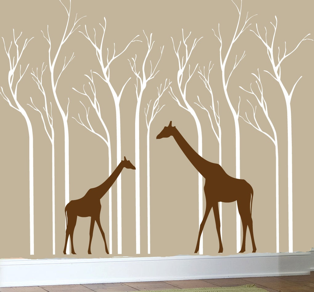 Safari Wall Decal Silhouette White Birch Trees By