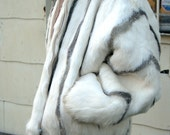 VINTAGE FUR JACKET - white and gray real rabbit fur