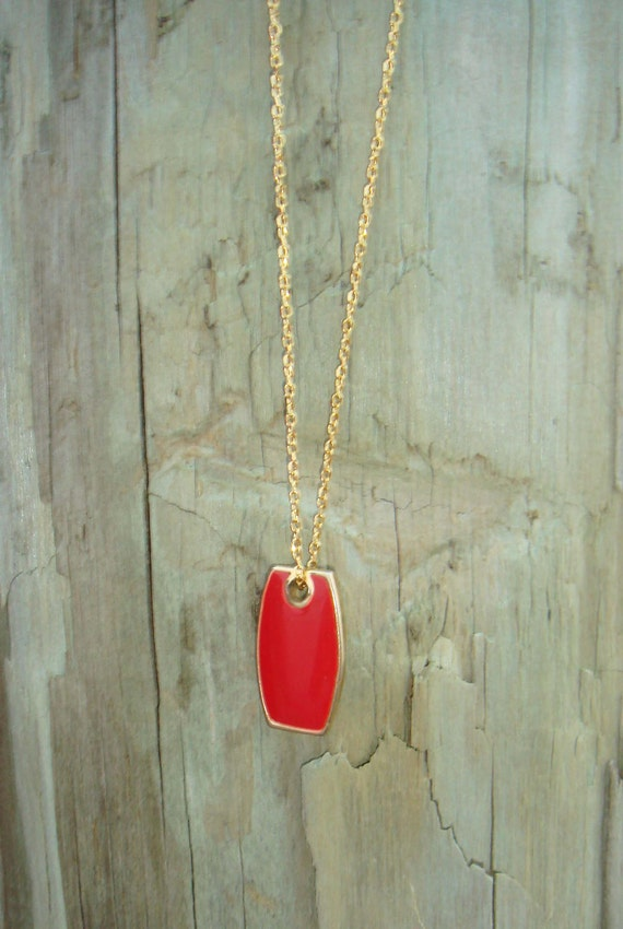 Vintage Kitty Hawk Necklace - Red Pendant with Gold Chain