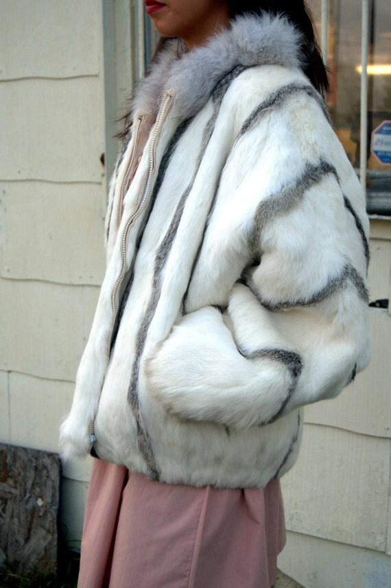 VINTAGE FUR JACKET - white and gray real rabbit fur