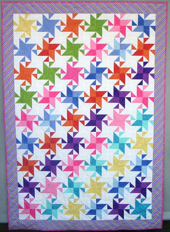 """Stars and Stripes Whenever  twin quilt -  - 56"""" X 80"""""""