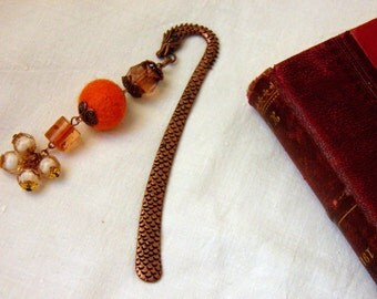 "Bookmark ""Tail of dragon"" with a  Felt Ball and Beads, orange amber copper Bookmark, bookmark with dragon,  Ready to ship"