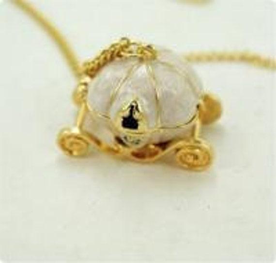 Cinderella Necklace, vintage style, pumpkin, disney