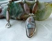 Ocean Jasper, Impression Jasper Pendant Necklace - Earthy Organic Silver Artisan Necklace