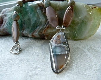 Ocean Jasper, Impression Jasper Pendant Necklace - Earthy Organic Silver Artisan Necklace