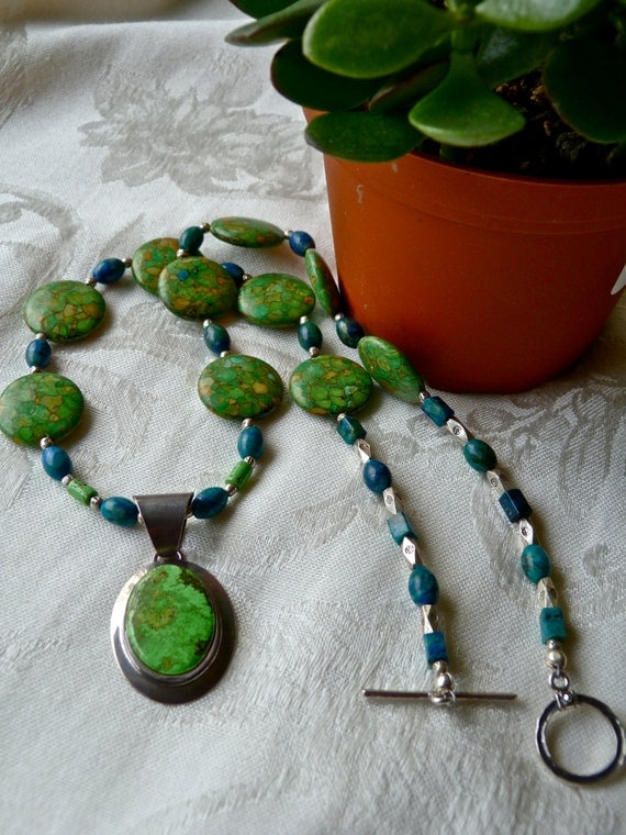 Leafy Green Gaspeite Earthy Pendant - Vintage Turquoise Chrysocolla One of a Kind Artisan Necklace