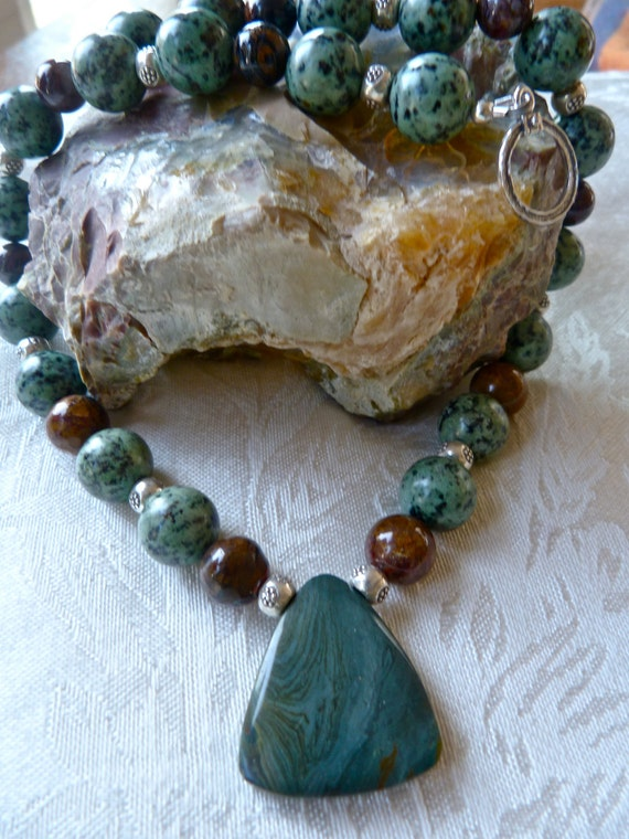 Gary Green Jasper Pendant / African Turquoise / Wood Opalite / Pietersite / Bold Earthy Necklace / One of a Kind