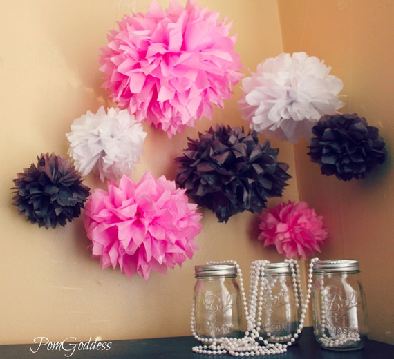 8 Tissue Pom Pom / Birthday Decorations / 1st Girl by PomGoddess