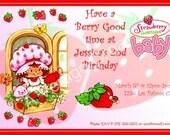 Digital Strawberry Shortcake Invitation vintage