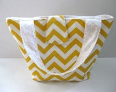 Bag, Tote, Chevron, Geometric, Under 100 - yellow and white