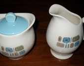 Vintage Canonsburg Creamer and Sugar Bowl with Lid in Temporama Pattern