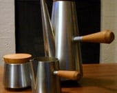 Vintage Modern WT Stainless Steel and Teak Coffee Set Made in Italy