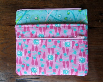 Kindle cover in Pink, Raspberry, and Turquoise fabric