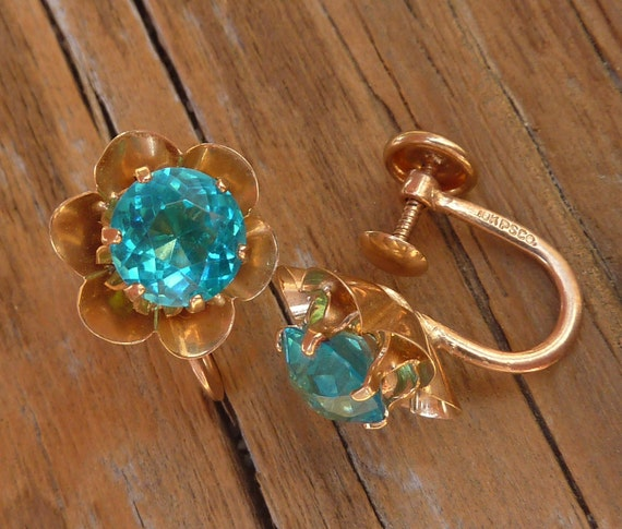 RESERVED 2 of 2 GORGEOUS 10k gold Large carribean blue earrings Victorian to Art Deco