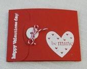 Valentine's Day Gift Card Holder - Handmade - Be Mine -  Love - Handstamped