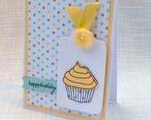 Handmade Happy Birthday Card - Cupcake - Yellow & Aqua