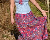 Vintage Gypsy Skirt Hippie BOHO Long Indie Pink Aqua Blue Purple. Grateful Dead Head Geometric Tribal Gauze Skirt. Made in India. Size M