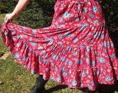 Vintage Red Floral Hippie Boho Skirt