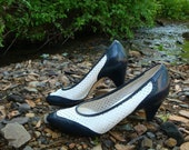 Vintage Leather Spectator Shoes. Navy Blue and White Perforated Pumps. High Heels. 80s Women's Shoes.  - Size 8