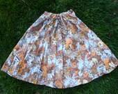 Vintage 70s Homemade Wildlife Skirt - Size M/L