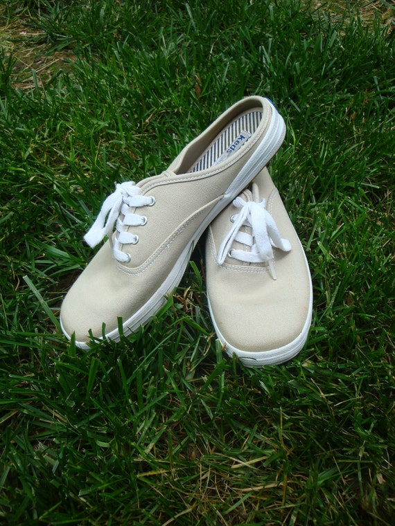 Vintage Keds Tan Canvas Mule Sneakers Size 8 5