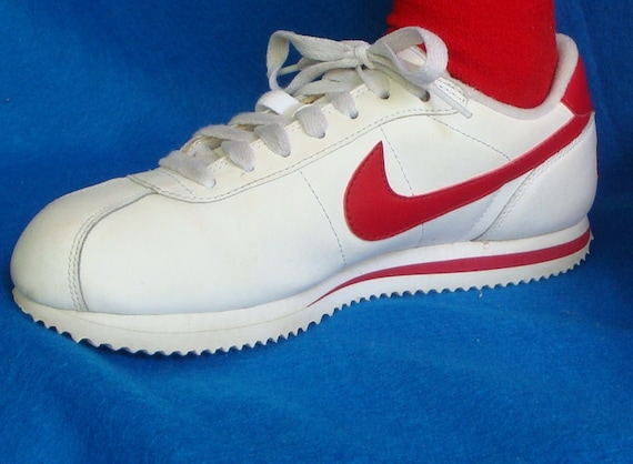 Retro Throwback Nike Leather Sneakers with Red Swoosh 70s