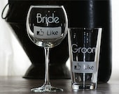 Bride and Groom Etched wine and beer glass