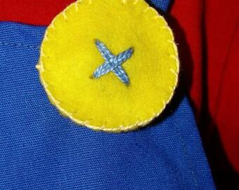 Super Mario Brothers-2 Yellow Felt  Buttons (1 pair) Mario & Luigi  - Halloween-Dress up