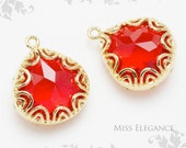 2 pcs Siam Faceted Glass Stone Pendants, Gold Plated over Brass Unique Jewelry Findings  // 16mm x 13mm // G02-01-BG